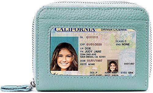 Cartera de piel con bloqueo RFID para mujer, excelente soporte para tarjetas de crédito de piel auténtica para mujer.