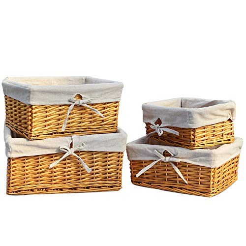 LOOKAT Handmade Wicker Storage Baskets Set,Shelf Baskets with Liner, Decorative Home Storage Bins, Decorative Baskets, Organizing Baskets,Nesting Baskets,Set of 4 (Natural)