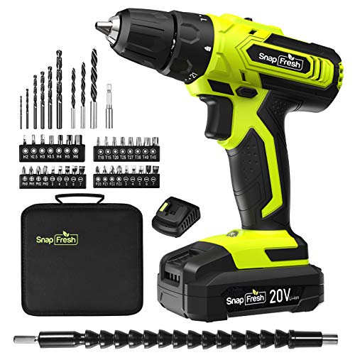 SnapFresh 20V Power Cordless Drill, 2000mAh Lithium Battery with 1 Hour Quick Charge, Hammer Drills Cordless with 45pcs Accessories Drill Bit Set, Drills and Driver Sets Cordless with LED Work Light