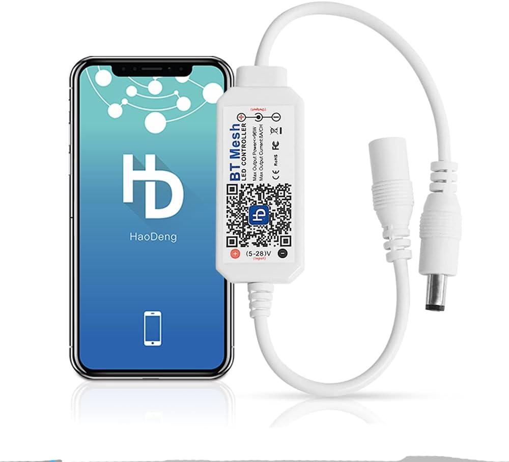Controlador Bluetooth regulable blanco cálido para tiras de LED de 5 V-28 V, control por voz, regulable, función de temporizador.