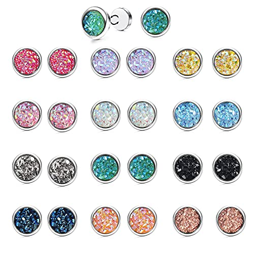 Thunaraz 12Pairs Colorful Magnetic Stud Earrings for Women Men Stainless Steel Faux Druzy Stud Earrings Resin Inlaid Round Glitter Studs Earrings Sparkled Non-Pierced Earrings Jewelry 8mm 10mm