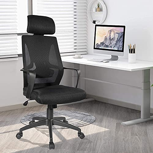 Desk Chair - Ergonomic Office Chair with Lumbar Support & Adjustable Height, Swivel Computer Chair High-Back Mesh Task Chair for Home Office(Black)