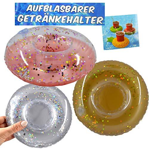 G & M Opblaasbare drankhouder donut glitter set van 3 flessenhouder drank 22cm bont