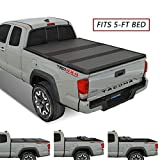 Kikito Professional FRP Hard Tri-Fold Truck Bed Tonneau Cover for 2016-2021 Toyota Tacoma 5ft (59.8in-60.5in) Bed