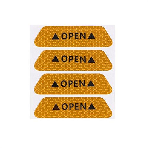 Preisvergleich Produktbild ONEVER 4pcs Fluorescent Auto OPEN Reflexstreifen Wasserdichte Warnaufkleber Nachtfahrsicherheits-Beleuchtung Lichtbnder -Gelbe