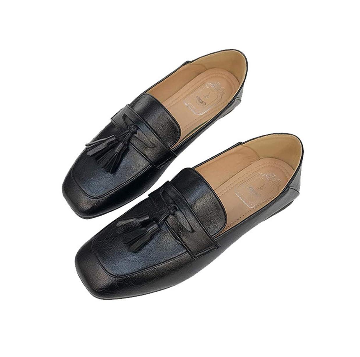 エチケットリッチ贅沢な[ツネユウシューズ] ローファー レディース 大人 大きいサイズ 黒 ブラック 履きやすい 疲れない カジュアル 通学 リボン タッセル 小さいサイズ 26cm 歩きやすい 痛くない スクエアトゥ 旅行 おしゃれ 学生 軽量 可愛い 婦人靴 制服 靴 春夏 秋