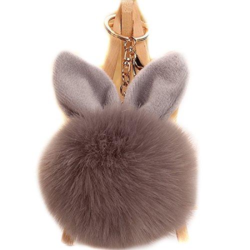 URSFUR Schlüsselanhänger aus Kunstfell Kaninchen Fellbommel Bommel Geburtstagsgeschenk Taschenanhänger (grau)
