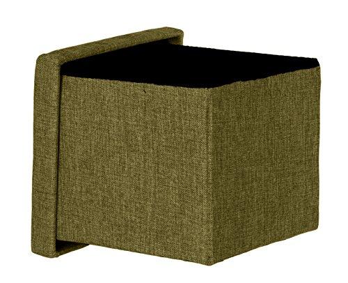 Brandsseller Taburete con espacio de almacenamiento, plegable, con tapa, acolchado, tela, verde, 30x30x30 (quadratisch)