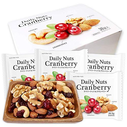 個包装 小分け ミックスナッツ&ドライフルーツ 1007g (26.5gx38袋) Daily nuts Cranberry (素焼き アーモンド くるみ 素焼き カシューナッツ ドライクランベリー) 産地直輸入 箱入り 超特価セール お得 無塩 保存料不
