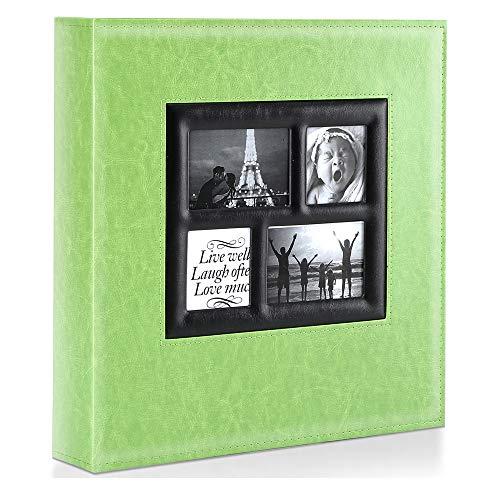 Ywlake Album de Fotos 10x15 1000, Grande Tradicional Tipico Original Cubierta de Cuero Album Fotos Horizontal y Vertical para la Boda de la Familia (Verde, 1000 Fotos)