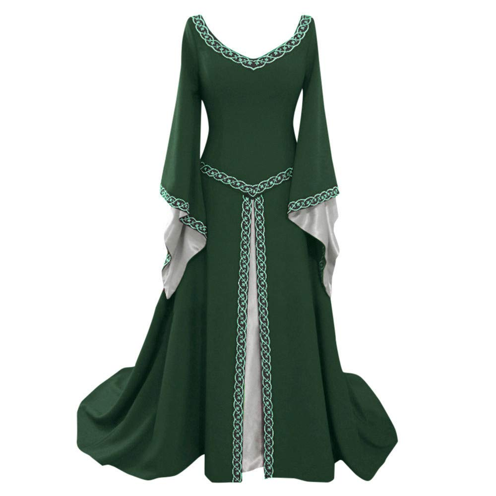 Womens Medieval Irish Costume Dress Victorian Vintage Floor Length Gown  Over Long Cosplay Maxi Dresses- Buy Online in Pakistan at desertcart.pk.  ProductId : 160105199.