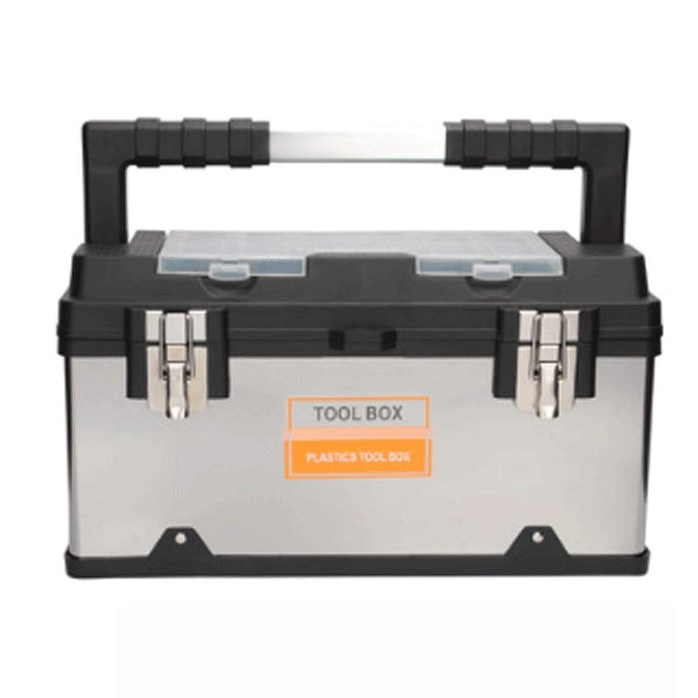 ワードローブ手配する観光ホームポータブル工具箱ステンレス鋼のツールは、ハードウェアツールボックス大容量ツールチェスト車多機能ツールボックスを設定します。 (サイズ : Large)