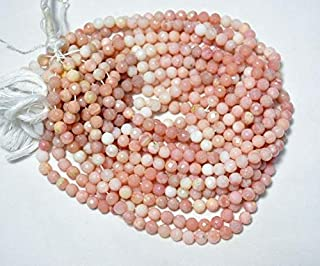6mm Pink Opal Faceted Round Beads 15 inch strand