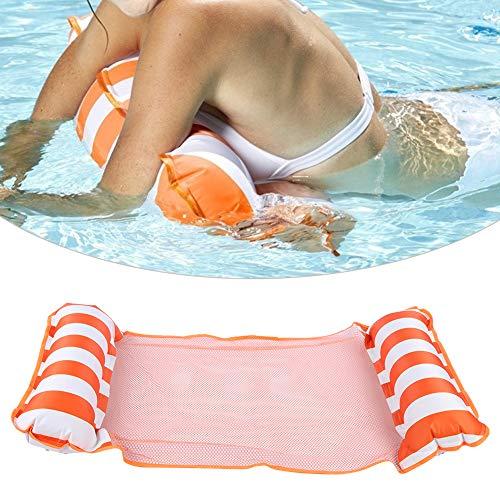 AYNEFY – Cama flotante, piscina hinchable, plegable, doble uso, cama de natación, tumbona de agua, hamaca con suministro de red, naranja