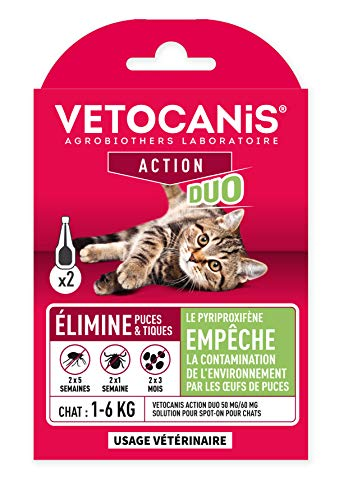 Vetocanis – Pipeta antipulgas antigarrapatas para Gatos, Tratamiento y protección antiparasitarios para Gatos 1-6 kg y hábitat – Caja de 2 pipetas