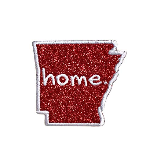 Arkansas - Home State - Red Glitter/White Outline - Iron on Applique/Embroidered Patch