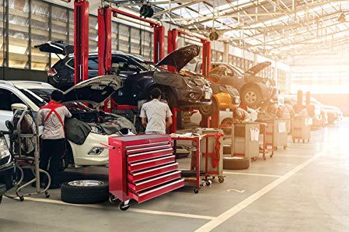 Arebos Werkstattwagen 7 Fächer/zentral abschließbar/Anti-Rutschbeschichtung/Räder mit Festellbremse/Massives Metall/rot, blau oder schwarz (Rot) - 8