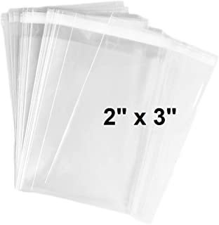 888 Display USA 100 2x3 Bags Crystal Clear Adhesive Tiny Cello Bags for Treat, Bakery, Candle, Soap, Cookie Plastic Packaging Bags