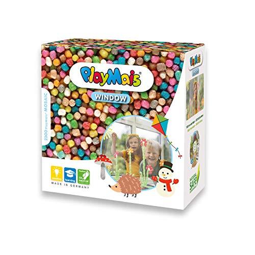 PlayMais WINDOW Kit de manualidades de otoño/invierno para niños a partir de 3 años I 2300 piezas de colores formato mosaico I estimula la creatividad y la motricidad I regalo para niñas
