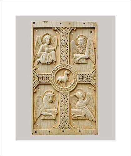 South Italian Culture - 16x20 Art Print by Museum Prints - Plaque with Agnus Dei on a Cross Between Emblems of The Four Evangelists