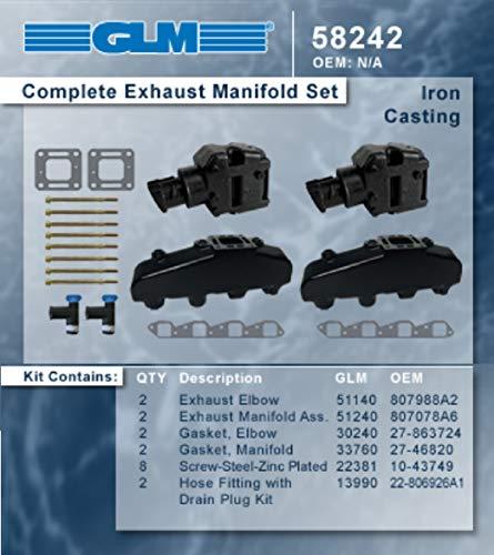 MERCRUISER COMPLETE EXHAUST MANIFOLD SET GM B-B (CAST IRON) | GLM Part Number: 58242