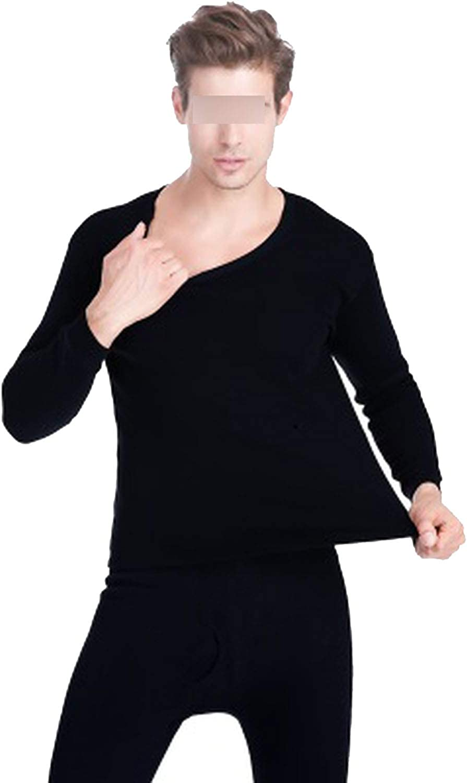 koweis Winter Long Thick Men Thermal Underwear Sets Keep Warm for Women,Black,L