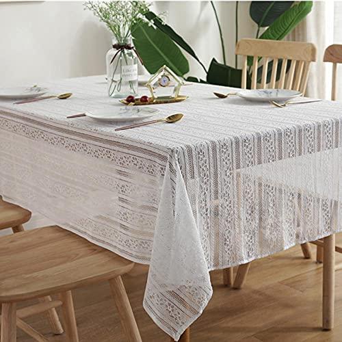 Mantel al Aire Libre Manteles Mantel Decorativo de Boda con Tema Blanco, Puede Cubrir Mantel de Encaje a Rayas Huecas blancas-145 * 220 cm
