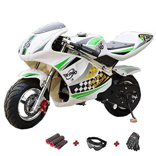 X-PRO Blast 40cc Gas Pocket Bike Mini Motorcycle Ride-On 4-Stroke Engine for Kids Padded Seat (Green)
