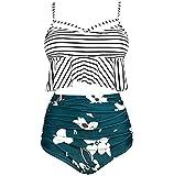 Auifor Traje étnico de Seda de impresión de la Mujer Atractiva del Acoplamiento del Bikini de una Sola Pieza de baño de la Playa(Armygreen/XX-Large)