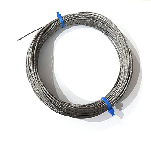 """Laureola 1/8"""" 7x7 Stainless Steel Aircraft Wire Rope 304 Grade -100ft"""