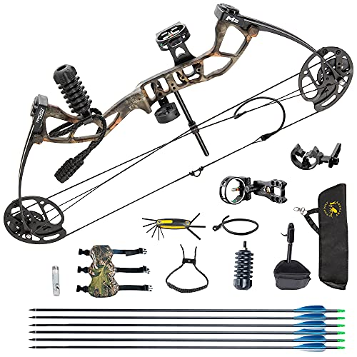 Youth Compound Bow Package,USA Gordon Limbs,10-40lbs Adjustable Draw Weight,17'-27' Draw Length Without Bow Press,Bow Kit for Teens/Juniors,Right Hand,Lightweight Design (camo-A)