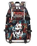 Siawasey - Mochila japonesa JoJo's Bizarre Adventure para cosplay, luminosa, mochila para libros, portátil, con puerto de carga USB 09. L