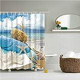 GHDFEY DuschvorhangAm Meer malerische Strand Muscheln Badezimmer Duschvorhänge wasserdichte Polyester Bad Gardinen für Badezimmer