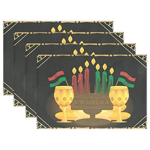Promini Juego de 4 manteles Individuales decoración de Cocina o Cocina, de Kwanzaa Candles, Antideslizantes, Resistentes al Calor, para Interiores, casa, Cocina, Hotel, Oficina