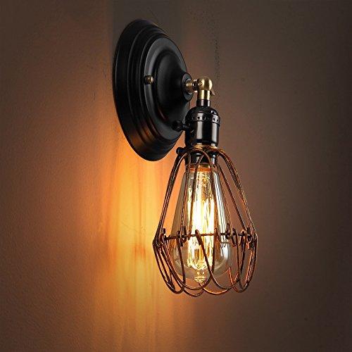 ZWL Iron Retro Small Cages Applique, balcon Aisle Plafonnier Coureur Lampe murale Bar Lampe décorative Creative Loft Industrie Style E27 Single Head 10 * 25CM mode (taille : 10 * 25CM)