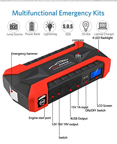 Comprajunta 600A 20000Mah,12V Jump Starter Kits Portable (Jusqu'à 5,0 L De Gaz, 3,0 L Moteur Diesel) Chargeur Mobile,Ordinateur Portable,Tablette,SOS Éclairage,Red