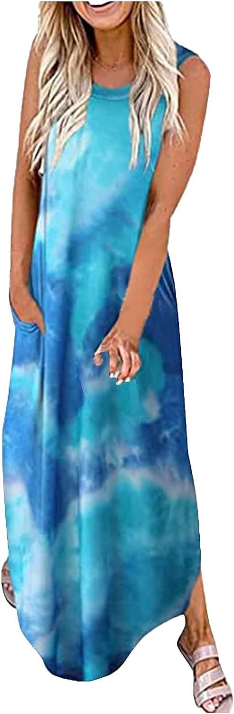 Sun Dresses Women Summer Fashion Plus Size Casual Tie Dye Print Dress O-Neck Sexy Sleeveless Loose Beach Long Dress