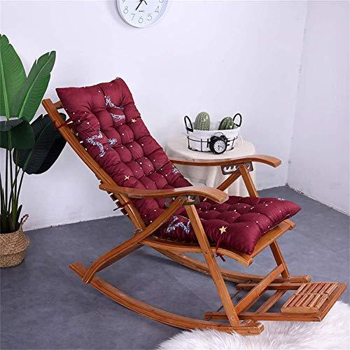 AICH Sun Lounger Cushion High-back Support,thicken Extra-large Relaxer Chair Cushion Recliner Cushion Rocking Chair Cushions Garden Cushions-burgundy-a 48x120cm
