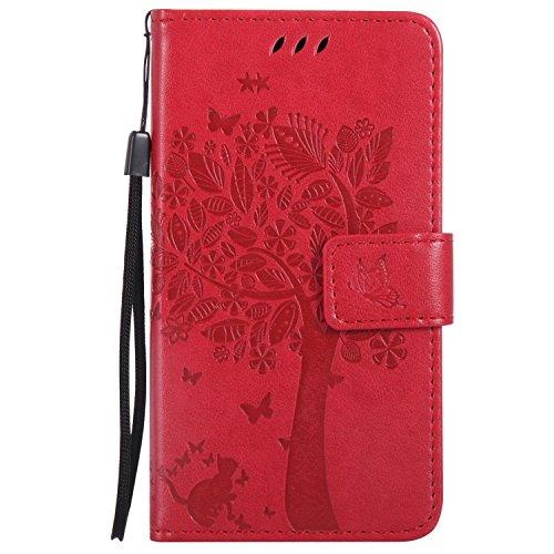 Guran® PU Leder Tasche Etui für Microsoft Lumia 550 Smartphone Flip Cover Stand Hülle & Karte Slot Hülle-rote
