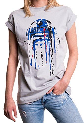 Oversize Frauen T-Shirt mit Aufdruck - Big Bang Theory Star Child - Longshirt Übergröße sehr weit geschnitten grau Wars M