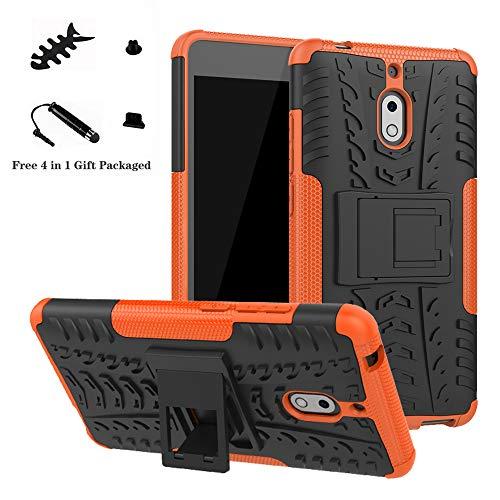 LiuShan Nokia 2.1 Hülle, Dual Layer Hybrid Handyhülle Drop Resistance Handys Schutz Hülle mit Ständer für Nokia 2.1 (Not fit Nokia 3.1) Smartphone,Orange