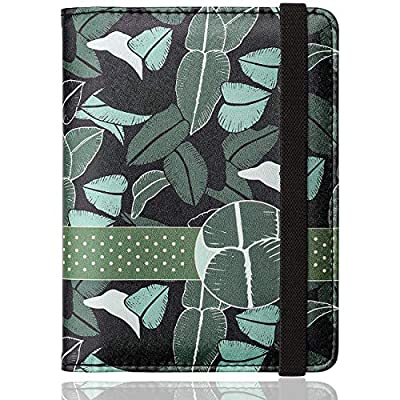 WALNEW RFID Passport Holder Cover Traveling Passport Case (A-Green Leaves)