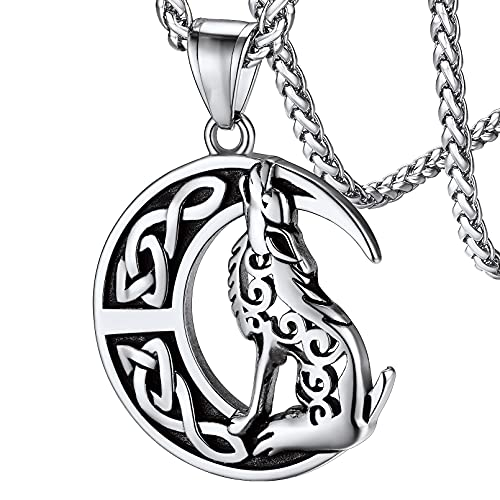 FaithHeart Howling Wolf Necklace for Man, Stainless Steel Norse Viking Cresent Moon Wolf Vintage Celtic Knot Protective Amulet Jewelry for Women