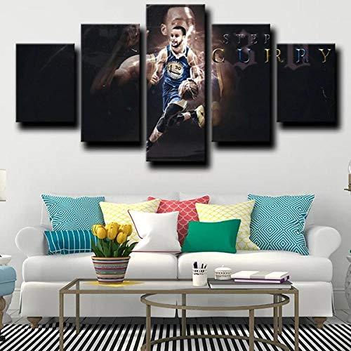 13Tdfc Quadro Multipannello di 5 Pannelli, Quadro su Tela 5 Pezzi, Stampa Artistica, Moderno Canvas 150X80Cm,Squadra di Basket NBA Guard MVP Stephen Curry Black Pronto Appendere