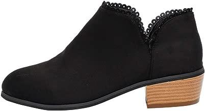 ZODOF Botas de Mujer Zapatos de tacón Cuadrado con Hebilla Retro para Mujer con Punta Cuadrada Navidad Boots