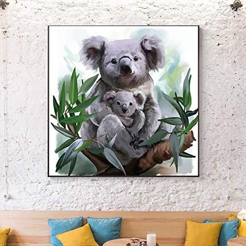 wZUN Lindo Koala y Koala Cartel de bebé Lienzo Pintura Mural Imagen para niños Dormitorio decoración de la habitación de los niños Regalo 60x60 Sin Marco