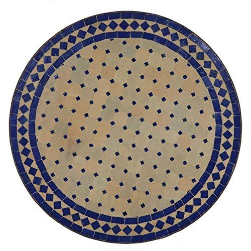 Casa Moro Mediterraner Gartentisch marokkanischer Mosaiktisch blau terrakotta Ø 120cm rund mit Gestell Höhe 73 cm | Kunsthandwerk aus Marrakesch Dekorativer Balkontisch Bistrotisch Esstisch MT2115
