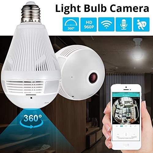 960P LED Inalámbrico Panorámico Seguridad for el hogar WiFi CCTV Fisheye Lámpara IP Cámara Lámpara en forma de 360 grados Seguridad for el hogar Protección antirrobo (Size : 960p+16gb)