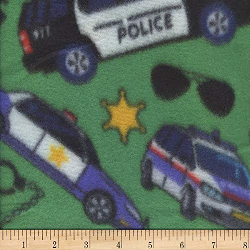 Newcastle Fabrics Polar Fleece Police Fabric, Green, Fabric By The Yard