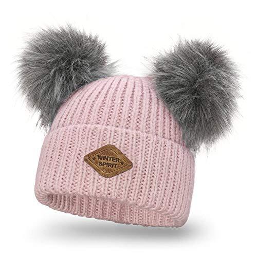 Solvera_Ltd Damen Strickmütze Wintermütze mit Zwei Bommel Beanies Bommelmütze Pudelmütze Winter Hüte für Frauen Mädchen (Rosa)